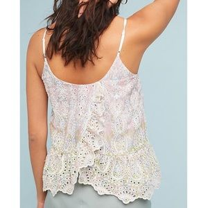 Anthropologie feather bone Gemma eyelet tank